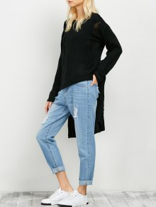 Oversized High Low Ripped Sweater