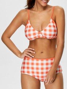 High Rise Checked Bikini - Jacinth Xl