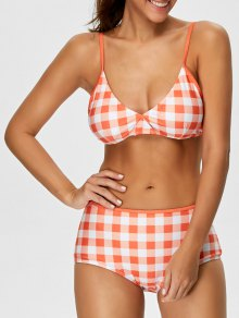 High Rise Checked Bikini