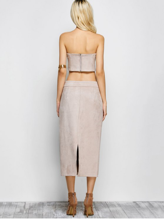 Suede Bodycon Skirt with Tube Top - LIGHT APRICOT PINK M Mobile