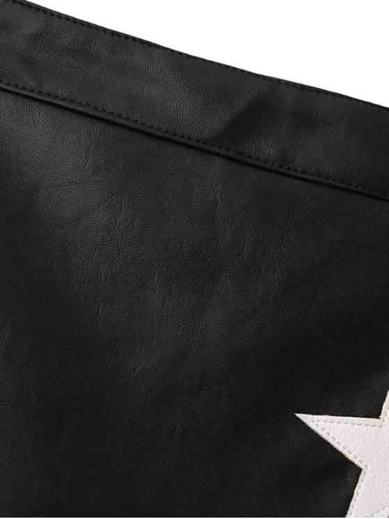 PU Leather Star A-Line Skirt - BLACK L Mobile