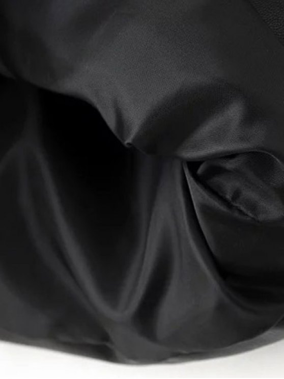 PU Leather Rivet A-Line Skirt - BLACK M Mobile