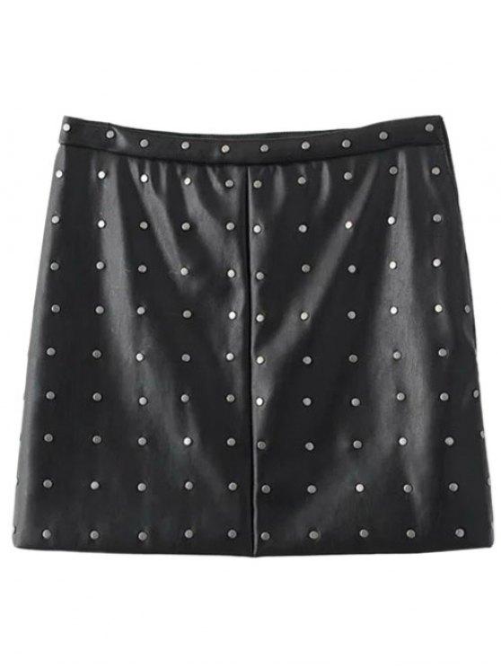 PU Leather Rivet A-Line Skirt - BLACK S Mobile