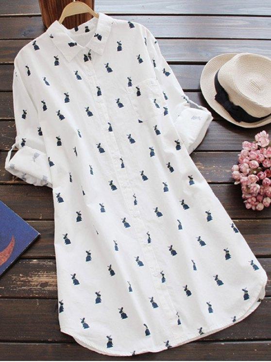 Robe-chemisier imprimée de lapins avec manches longues - Blanc M