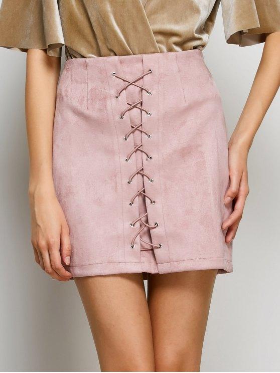 Con cordones de Bodycon de la falda - Rosa L