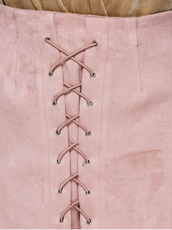 Lace-Up Bodycon Skirt - PINK L Mobile