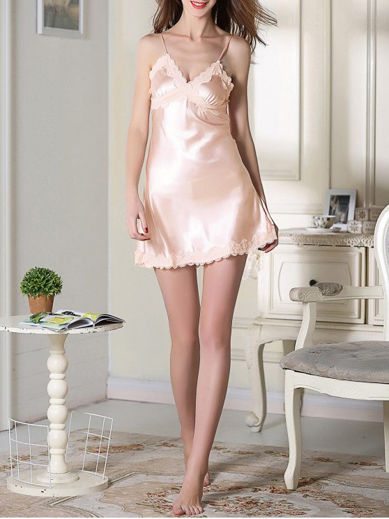 Lace Trim Satin Slip Sleep Dress - LIGHT PINK 2XL Mobile