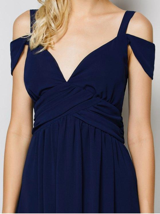 Cold Shoulder Slit Maxi Prom Dress - PURPLISH BLUE M Mobile