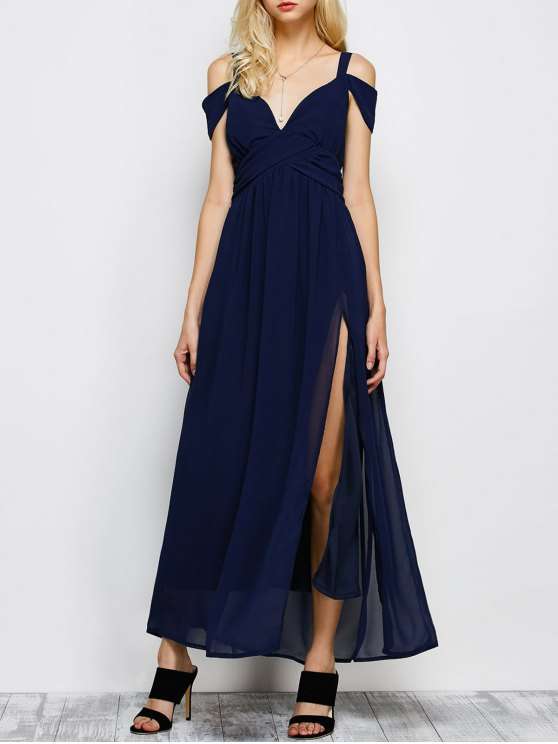 women's Cold Shoulder Slit Maxi Prom Dress - PURPLISH BLUE S