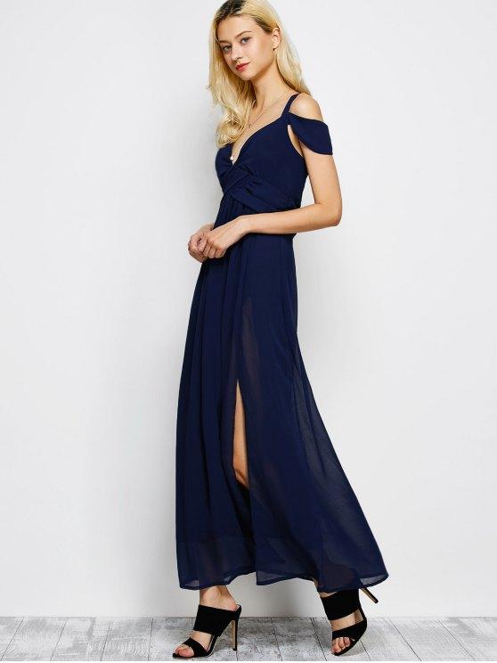 Cold Shoulder Slit Maxi Prom Dress - PURPLISH BLUE S Mobile