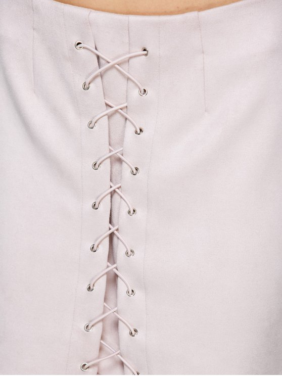Lace-Up Bodycon Skirt - SHALLOW PINK L Mobile