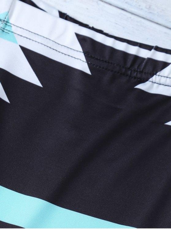 Skinny Geometric Patterned Legging - BLACK M Mobile