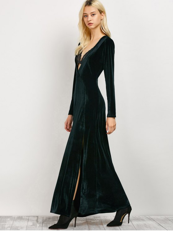 Long Sleeve High Slit Low Cut Maxi Dress - BLACKISH GREEN S Mobile