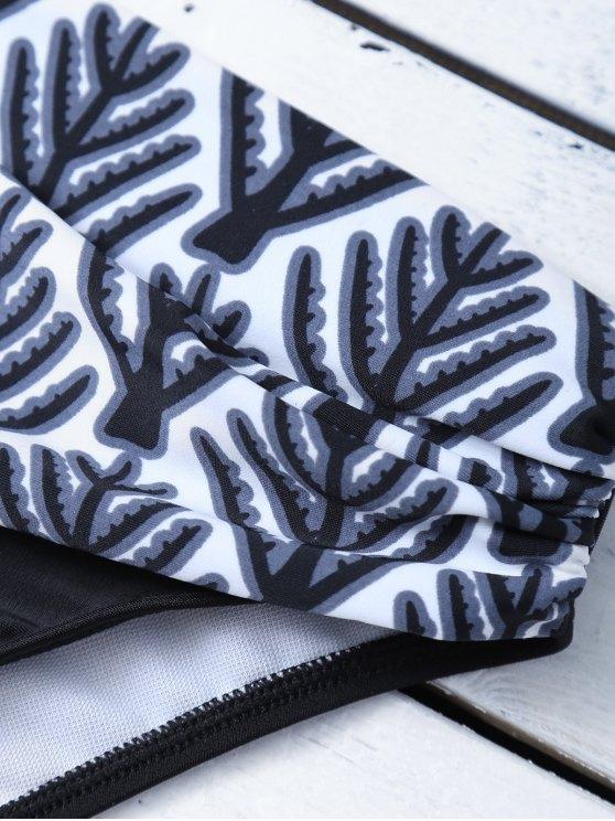 Tree Printed Halter Bikini Set - BLACK M Mobile