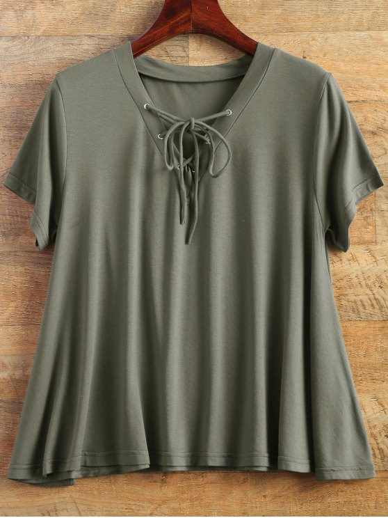 Flowy Lace Up Swing Tee - ARMY GREEN M Mobile