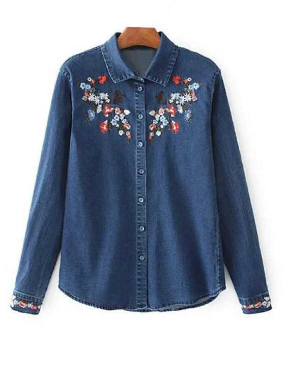 Stretchy Floral Embroidered Jean Shirt - BLUE L Mobile