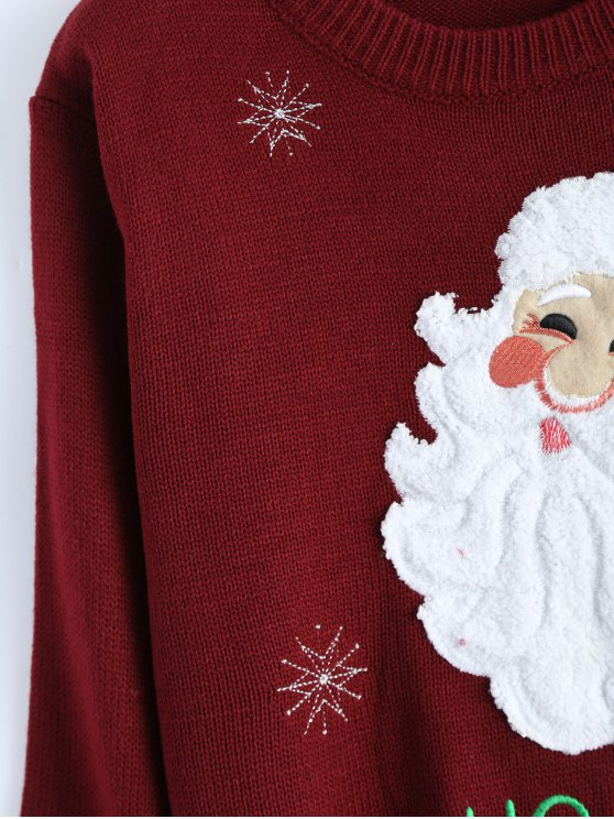 Santa Clause Christmas Sweater - WINE RED ONE SIZE Mobile