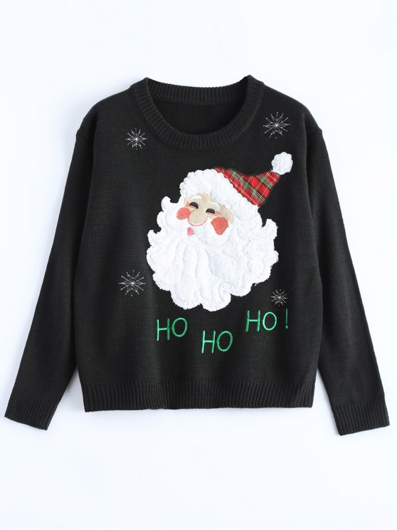 Santa Clause Christmas Sweater - BLACK ONE SIZE Mobile