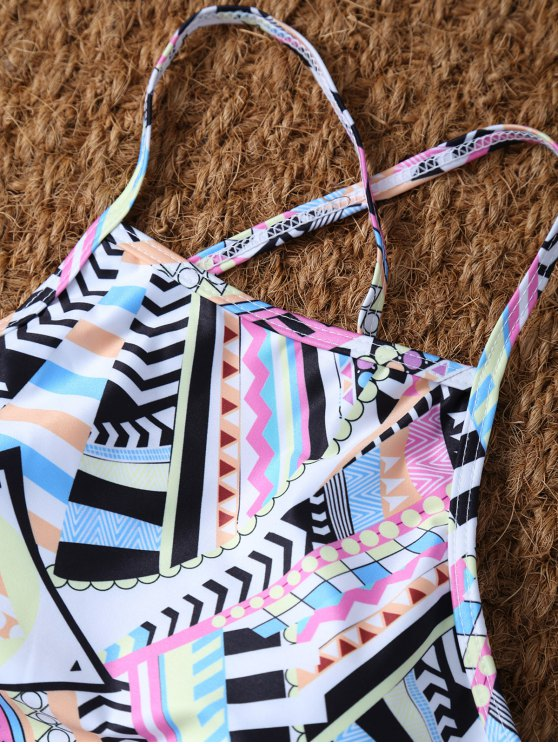 High Neck Criss Cross Geometric Bikini Set - PINK S Mobile