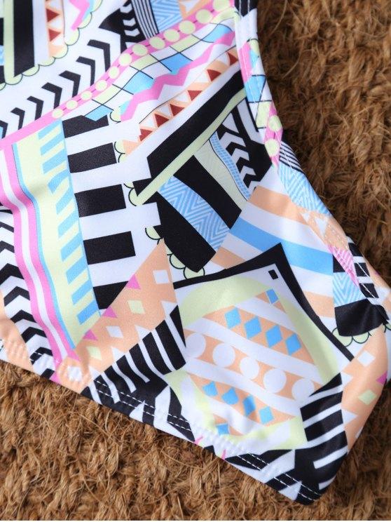 High Neck Criss Cross Geometric Bikini Set - PINK M Mobile