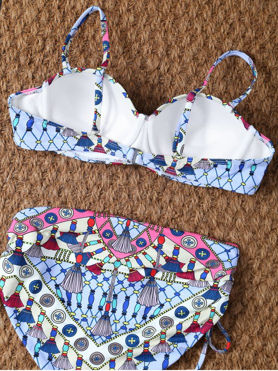 High Waisted Halter Lace Up Printed Bikini - COLORMIX S Mobile