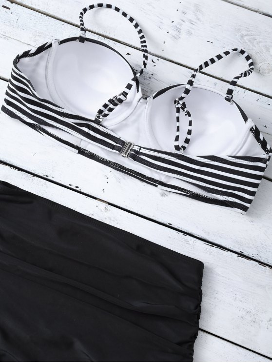 High Waist Striped Bikini Set - BLACK XL Mobile