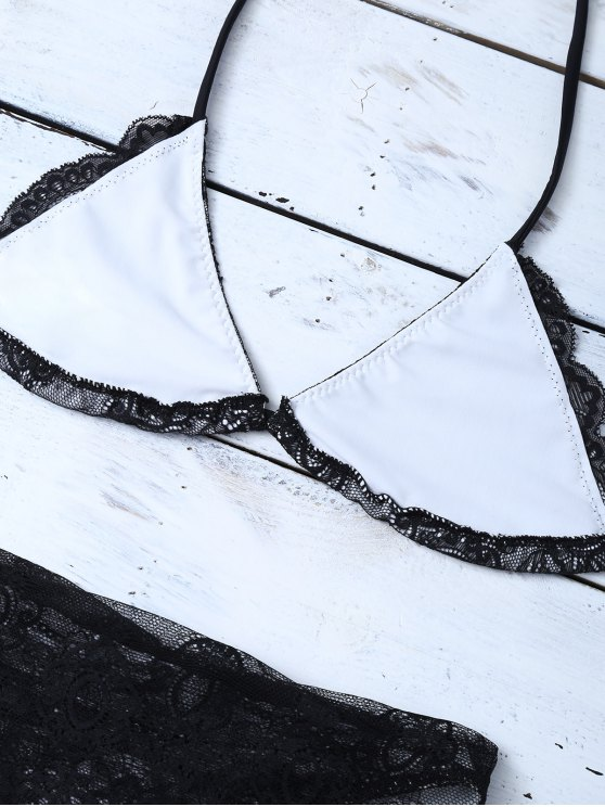 Lace High Waisted Bikini Set - BLACK L Mobile