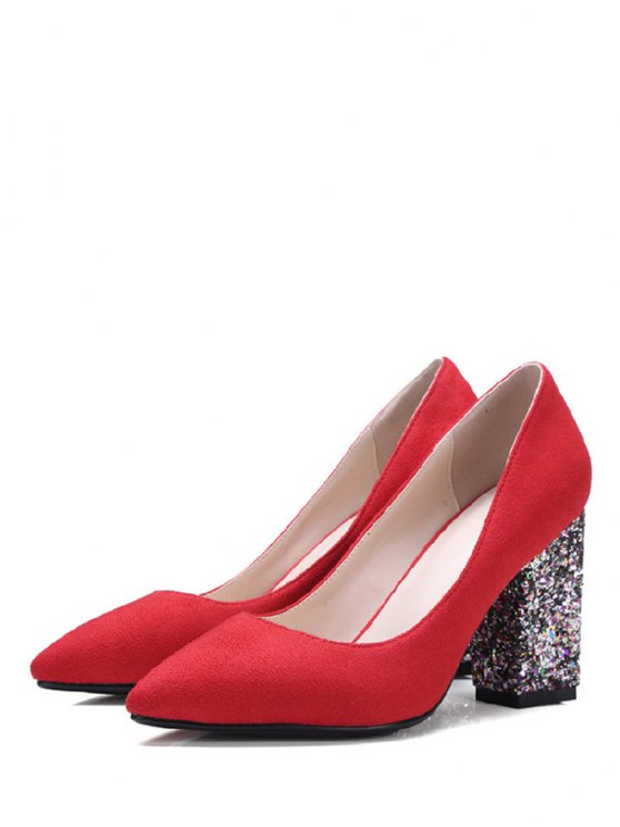 Glitter Sequined Pointed Toe Pumps - RED 37 Mobile