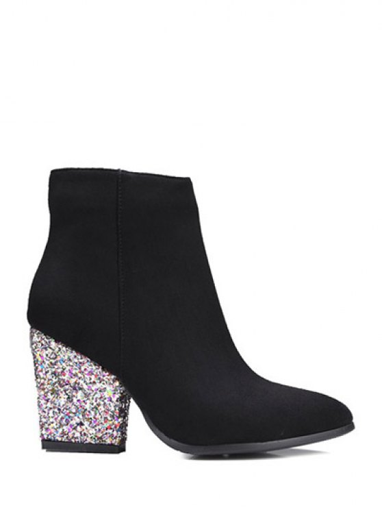 Zipper Glitter Chunky Heel Ankle Boots - BLACK 37 Mobile