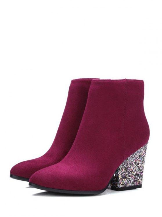 Zipper Glitter Chunky Heel Ankle Boots - BURGUNDY 39 Mobile