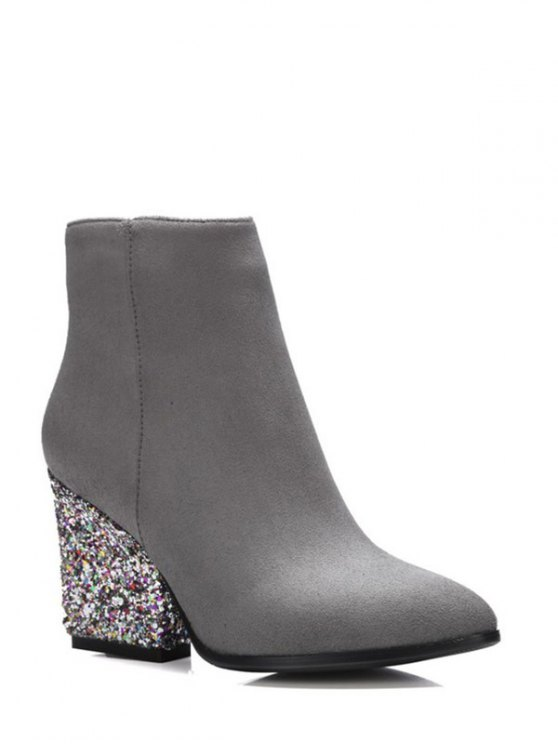 Zipper Glitter Chunky Heel Ankle Boots - GRAY 39 Mobile