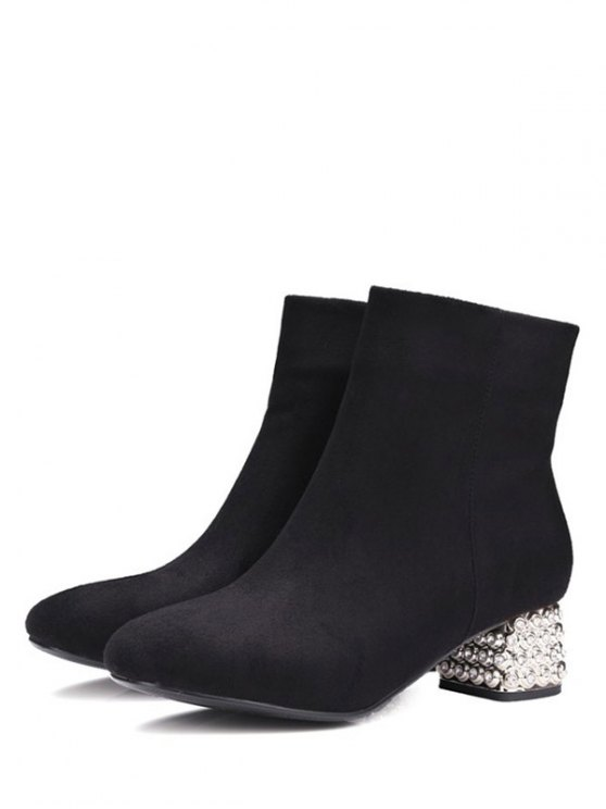 Square Toe Rhinestones Zipper Ankle Boots - BLACK 37 Mobile