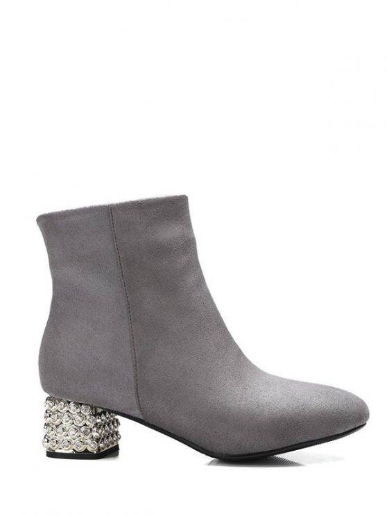 Square Toe Rhinestones Zipper Ankle Boots - GRAY 39 Mobile