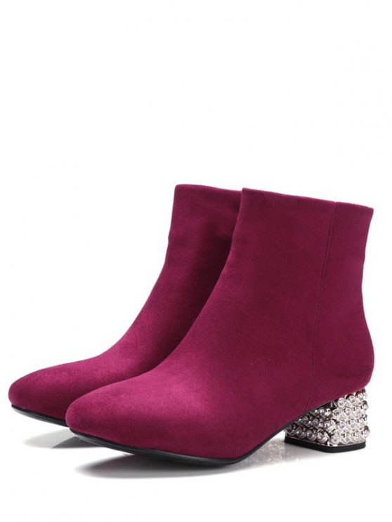 Square Toe Rhinestones Zipper Ankle Boots - BURGUNDY 37 Mobile