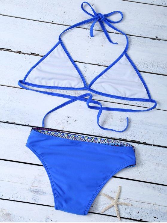 Tribal Print Halter Unlined Bikini - BLUE M Mobile