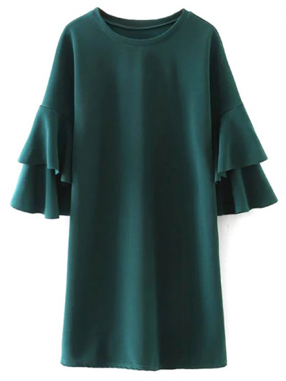 Frilled Sleeve Mini Dress - GREEN L Mobile