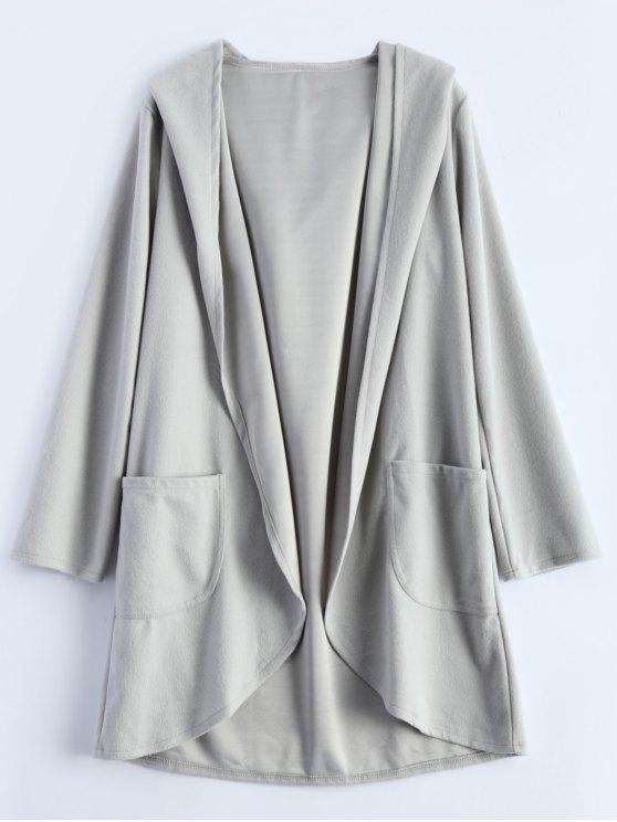women Cotton Open Front Coat - LIGHT GRAY M