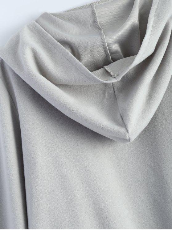 Cotton Open Front Coat - LIGHT GRAY M Mobile