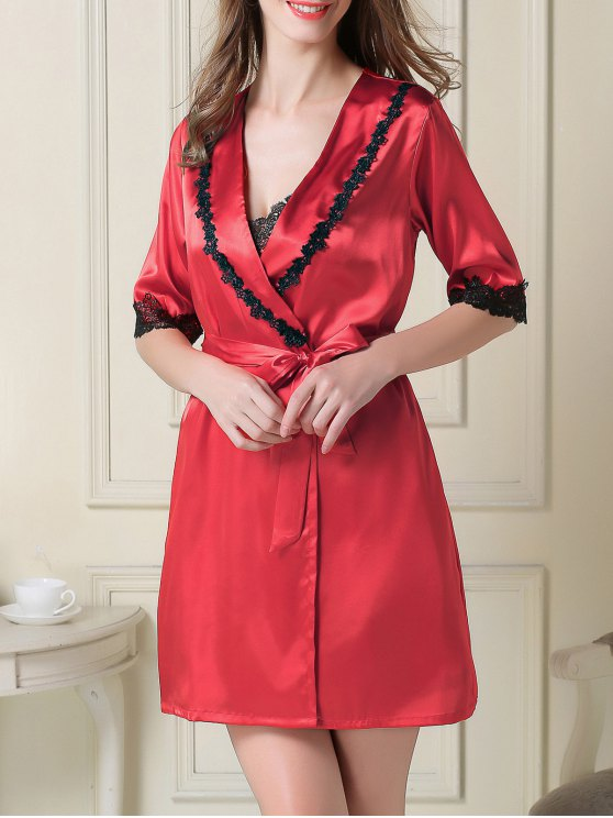 Satin Slip Dress and Belted Sleep Robe - RED L Mobile