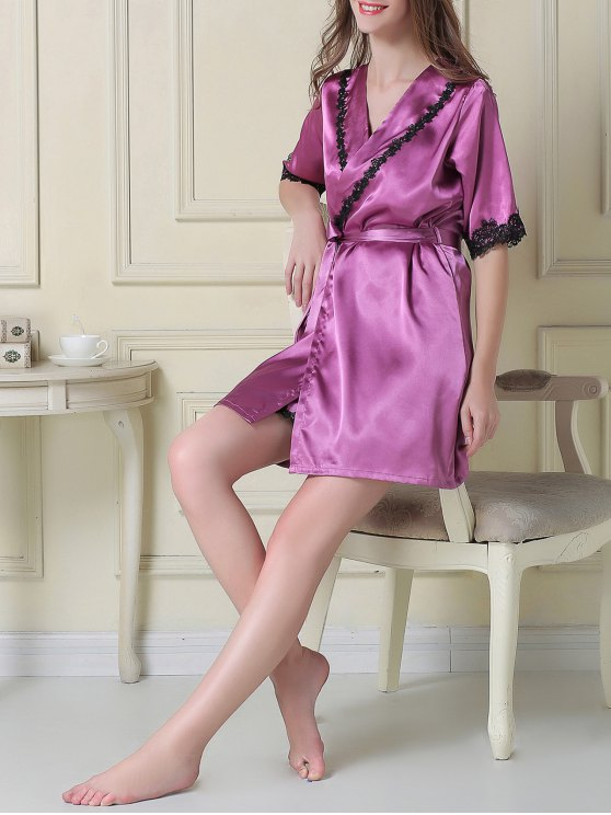 Satin Slip Dress and Belted Sleep Robe - PURPLE M Mobile