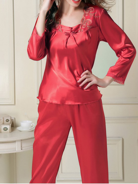Embroidered Satin Tee and Capri Pants Pajama - RED L Mobile
