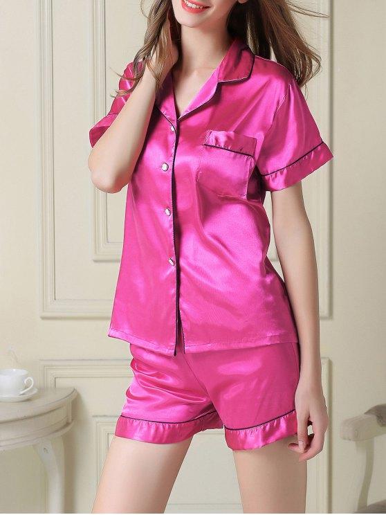 Short Sleeve Satin Boxer Pajama - ROSE RED M Mobile
