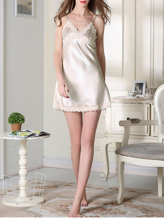 Lace Trim Satin Slip Sleep Dress - CHAMPAGNE XL Mobile
