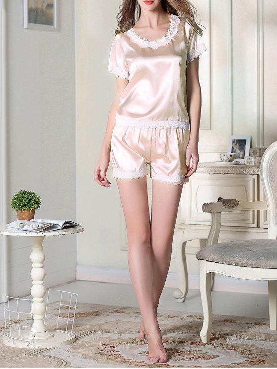 Satin Scoop Tee Boxer Pajama - LIGHT PINK L Mobile