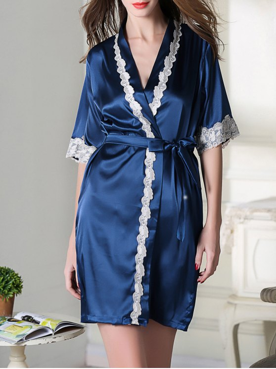 Belted Satin Sleep Kimono Robe - ROYAL BLUE M Mobile