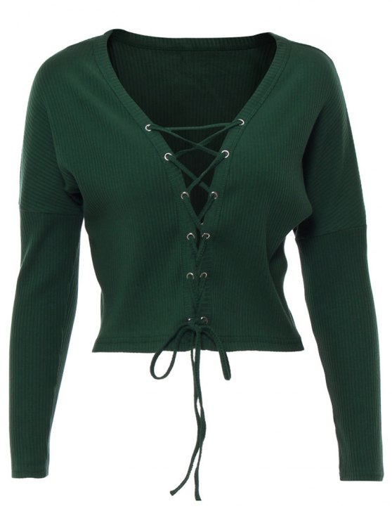 Lace Up Ribbed Cropped Cardigan - BLACKISH GREEN M Mobile