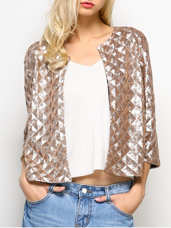 Sequined Open Front Jacket - GOLDEN 2XL Mobile