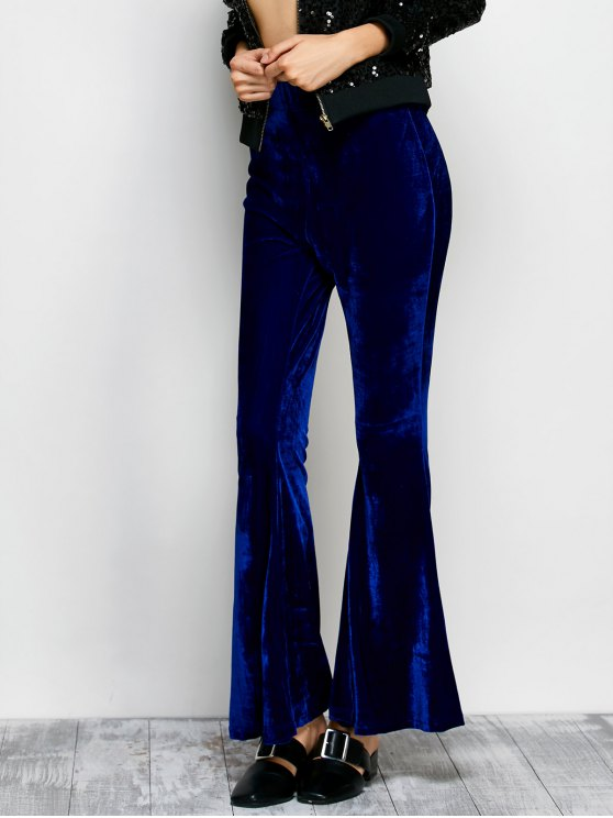Velvet Flare Pants - BLUE 2XL Mobile