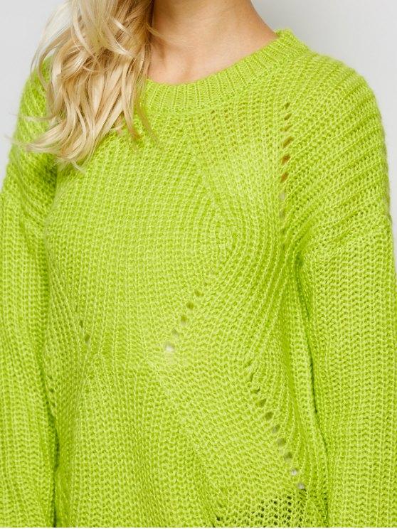 Open Stitch Sweater - LEMON GREEN 2XL Mobile