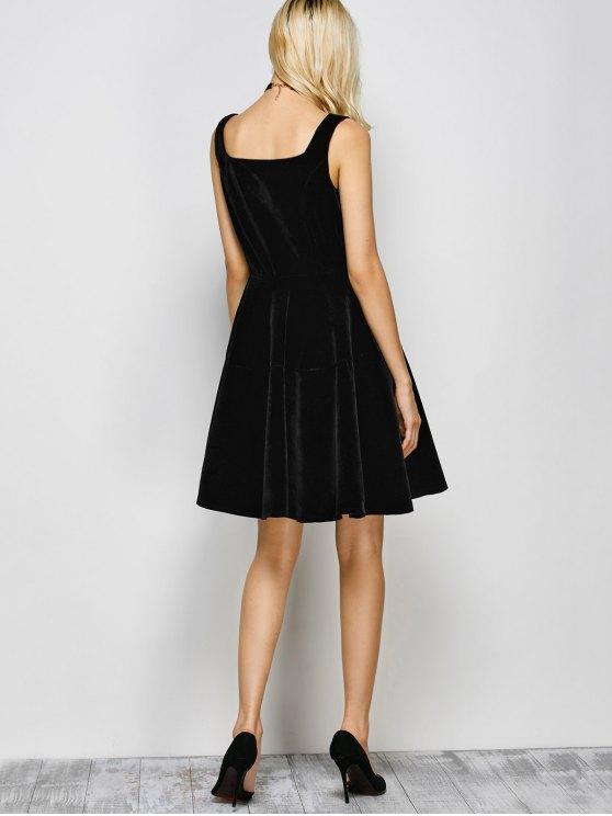Square Neck Velvet Vintage Dress - BLACK S Mobile